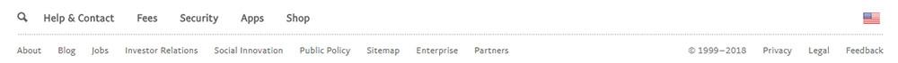 PayPal website footer screenshot showing links