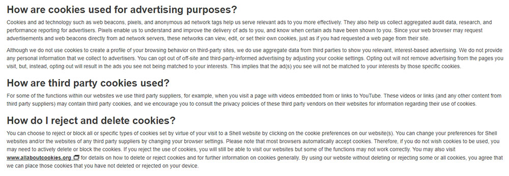 Shell Global Cookie Policy: Advertising purposes, third party cookies and how to reject and delete cookies clauses