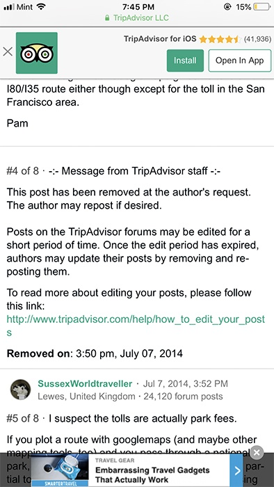 TripAdvisor: mobile forum showing post removed by request of author and a link for how to edit posts