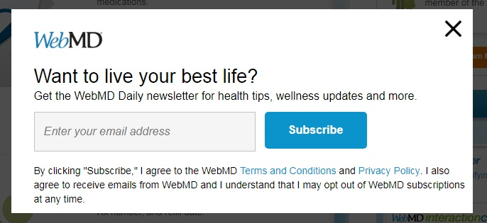 WebMD email subscribe form using clickwrap for consent and providing opt-out notice