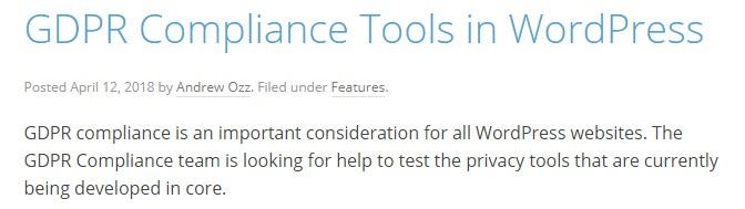 WordPress: GDPR Compliance Tools page: Screenshot of intro