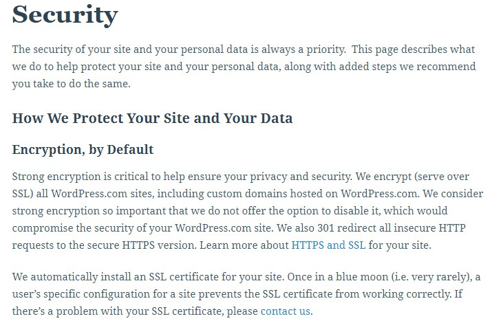 WordPress Support: Security: Encryption section from How We Protect Your Site and Your Data