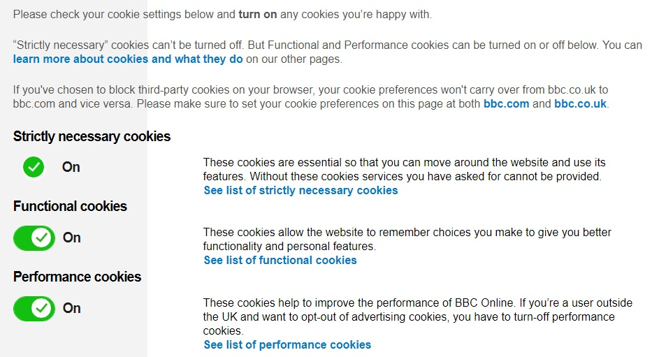 BBC Cookies Settings screenshot updated