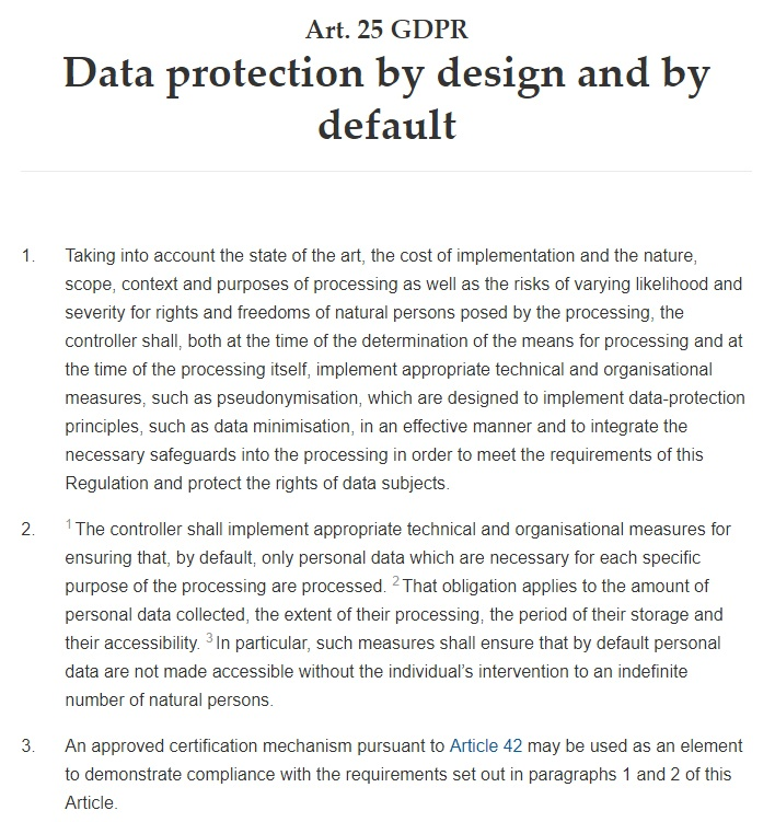 GDPR Info: Article 25: Data protection by design and by default: Full text