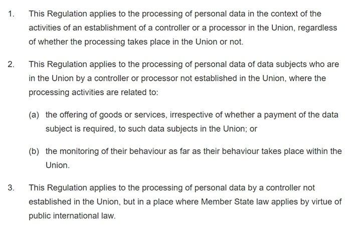 GDPR Info: Article 3: Territorial scope