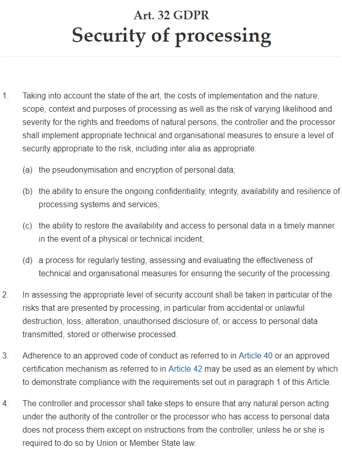 GDPR Info: Article 32: Security of Processing: Full text