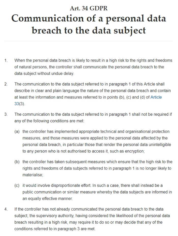 GDPR Info: Article 34: Communication of a personal data breach to the data subject: Full text