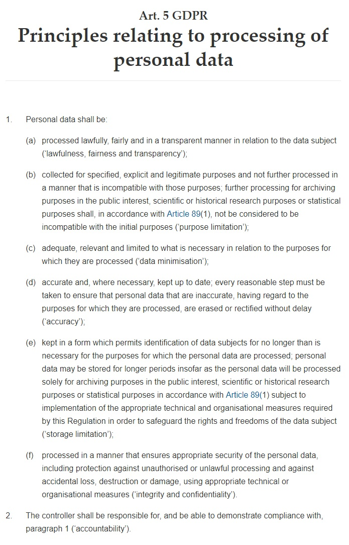 GDPR Info: Article 5: Principles relating to processing of personal data: Full text