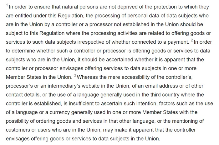 GDPR Info - Recital 23: Applicable to processors not established in the Union if data subject within the union are targeted