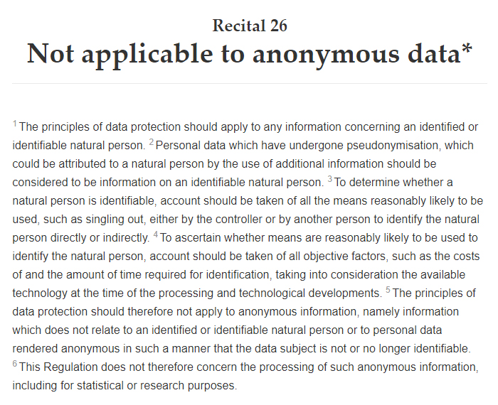 GDPR Info: Recital 26: Not applicable to anonymous data: Full text