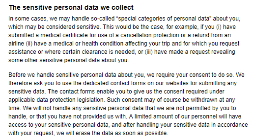 Gotogate Privacy Policy: Sensitive personal data clause
