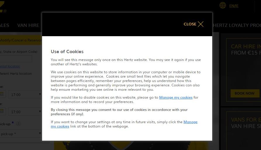 Hertz Use of Cookies notice