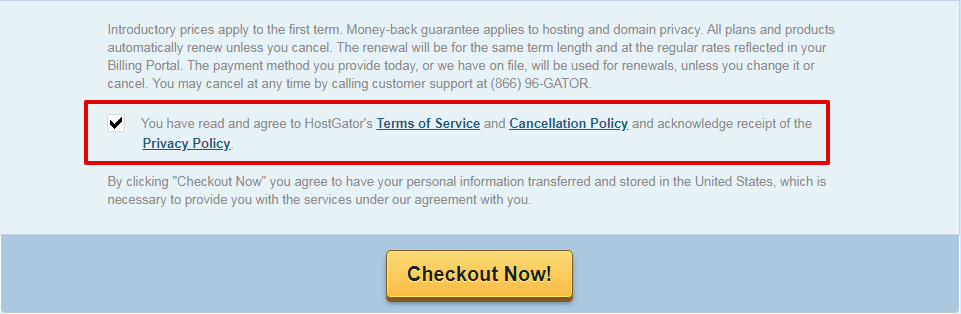 HostGator checkout page with checkbox to agree to Terms of Service, Cancellation Policy and Privacy Policy - Checked