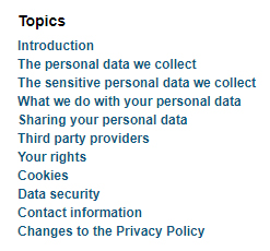 iie Privacy Policy: Topics list