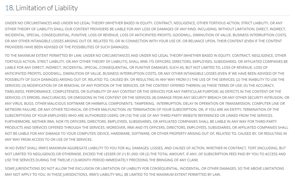 IRMI Terms of Use: Limitation of Liability clause