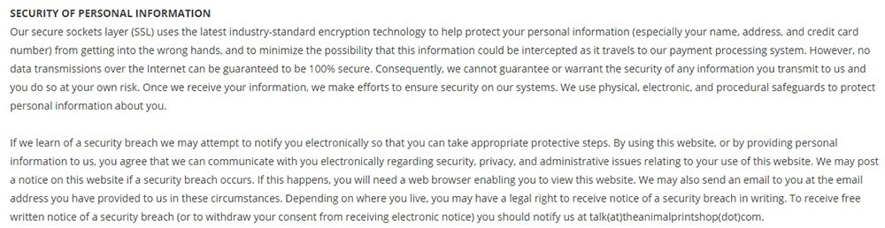 Montrose and Merrick Privacy and Security Terms and Conditions: Security of Personal Information clause
