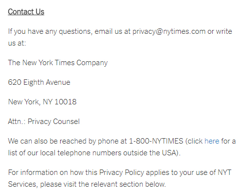The New York Times Privacy Policy: Contact Us clause