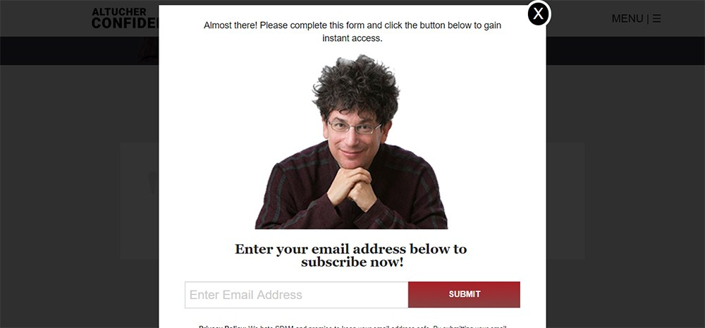 Altucher Confidential email subscribe form with submit button