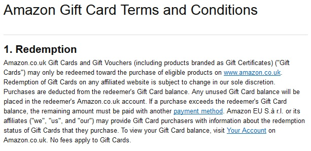 Amazon UK Gift Card Terms and Conditions: Redemption clause