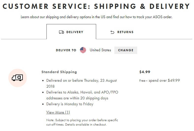 ASOS Shipping and Delivery page screenshot