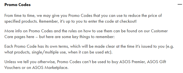ASOS Terms and Conditions: Promo Codes clause