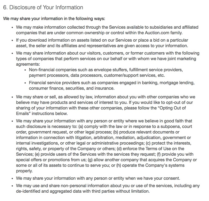 Auction.com Privacy Statement: Disclosure of Your Information clause