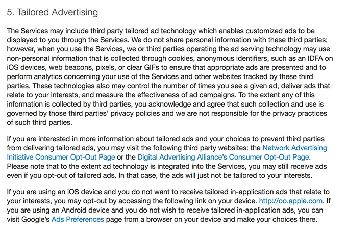 Auction.com Privacy Statement: Tailored Advertising clause