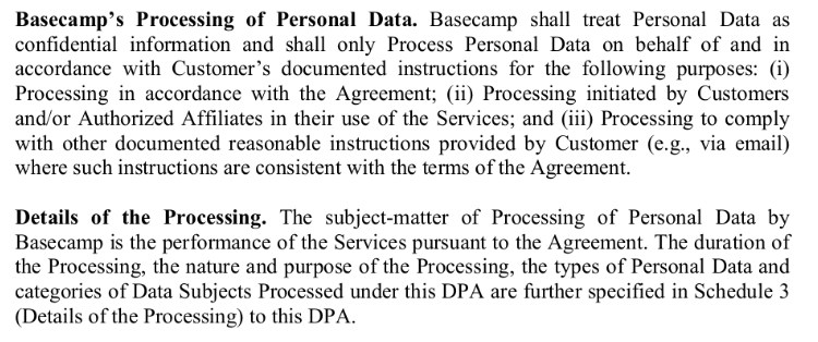 Basecamp's Data Processing Addendum: Processing of Personal Data clause excerpt