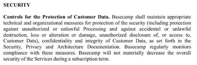 Basecamp's Data Processing Addendum: Security clause