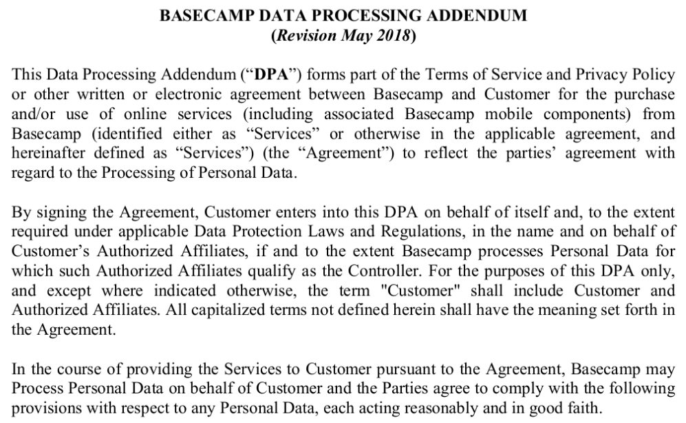 Basecamp: Intro excerpt of the standard Data Processing Addendum