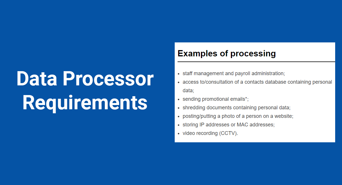 GDPR Data Processor Requirements
