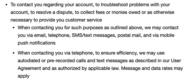 eBay Privacy Notice: Communications clause