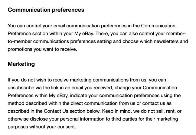 eBay Privacy  Notice: Communications preferences and marketing clauses