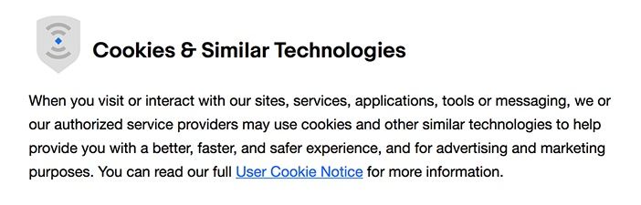 eBay Privacy Notice: Cookies and Similar Technologies clause