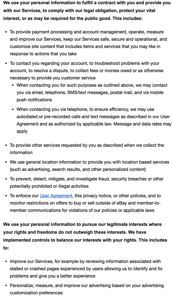 eBay Privacy Notice: How we use your personal information clause