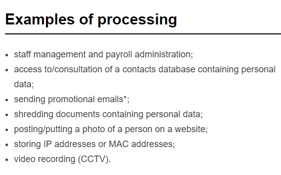 European Commission: Examples of data processing