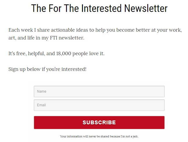 FortheInterested.com email subscribe form