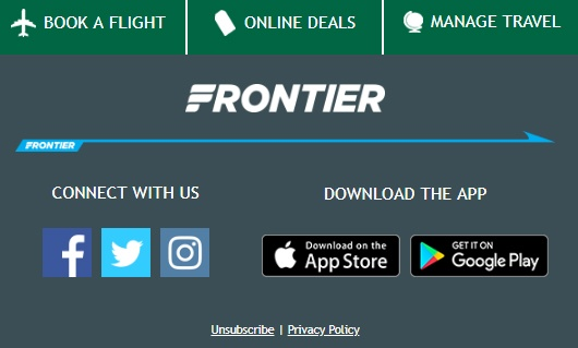 Screenshot of Frontier Airlines email showing unsubscribe link in footer