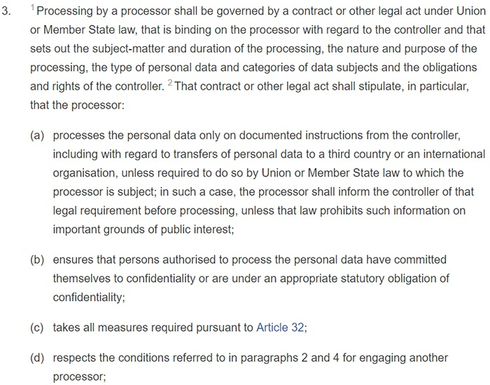 GDPR Article 28: Section 3: data processor