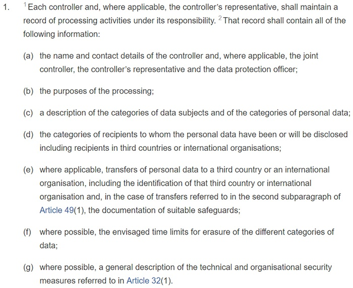 GDPR Article 30: Section 1: Records of processing activ