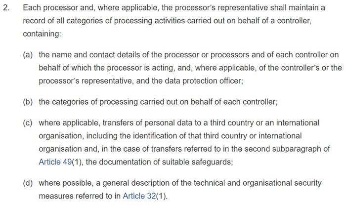 GDPR Article 30: Section 2: Records of processing activities