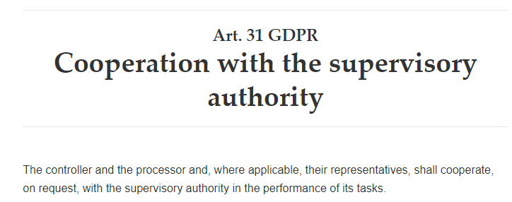 GDPR Article 31: Cooperation with the supervisory authority