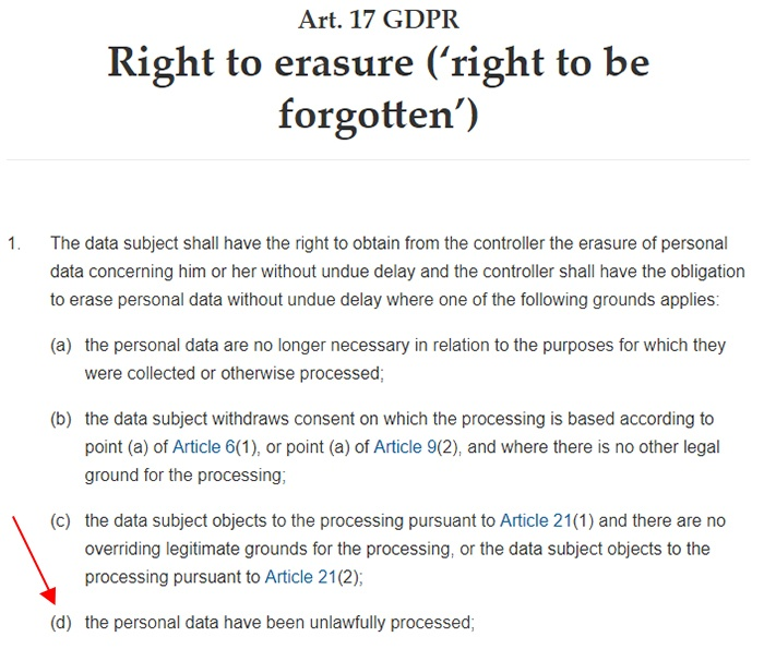 GDPR Info: Article 17: Right to erasure - Unlawfully processed data section noted