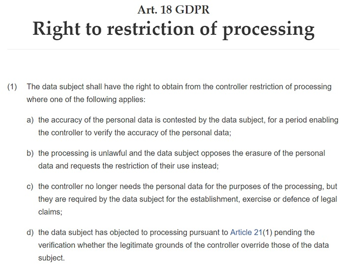 GDPR Info: Article 18: Right to restriction of processing