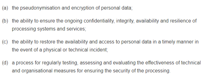 GDPR Article 32: Security of Processing - Section 1