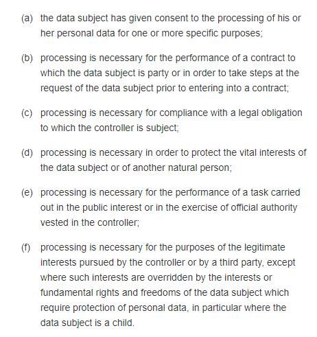 GDPR Article 6: Lawfulness of Processing - Section 1: Lawful bases