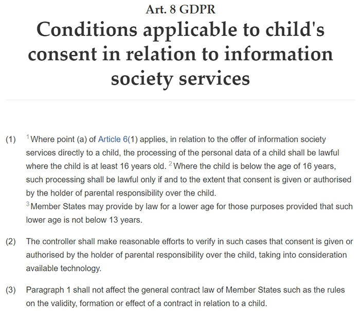 GDPR Info: Article 8: Conditions applicable to child's consent in relation to information society services