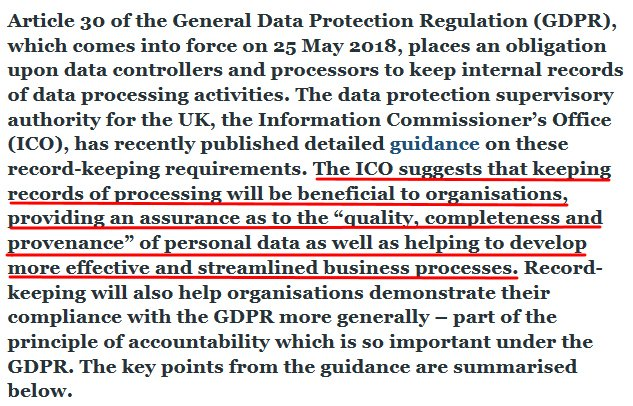 JD Supra article intro: Documentation under the GDPR - the ICO goes on the record