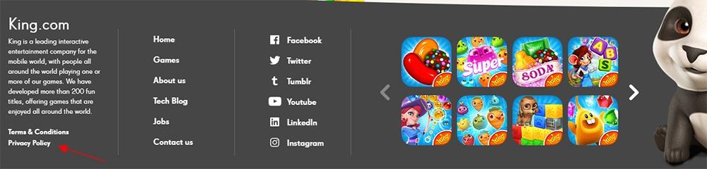 King website footer screenshot