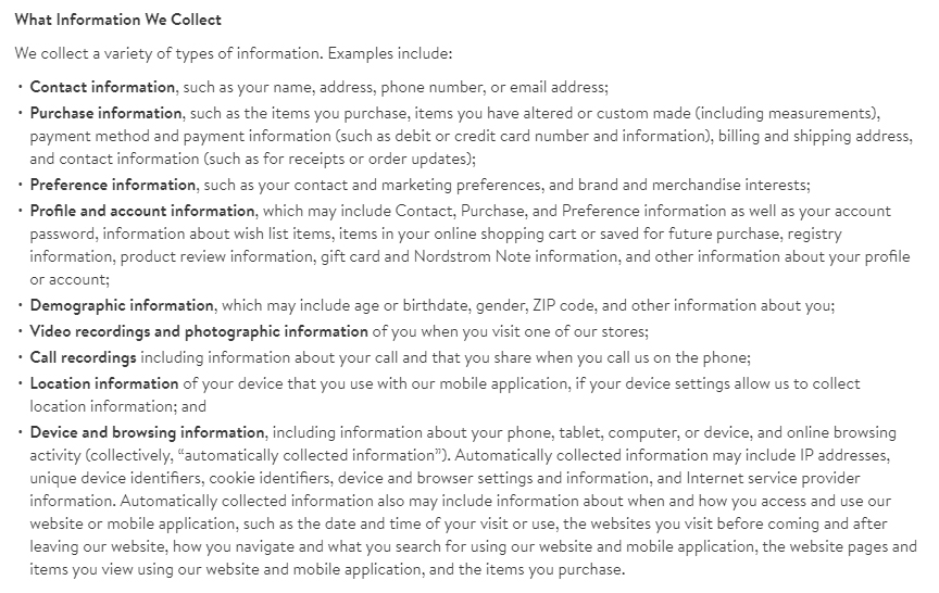 Nordstrom Privacy Policy: What Information We Collect clause